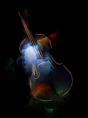 Photo pour Série de musique de rêve. Toile de fond composée de violon et l'abrégé de peinture colorée et utilisable dans les projets sur les instruments de musique, mélodie, son, arts du spectacle et de la créativité - image libre de droit