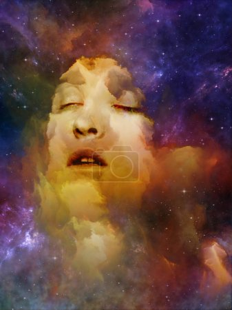 Photo for Will Universe Remember Us series. Backdrop composed of woman's face, nebula and stars and suitable for use in the projects on Universe, Nature, human mind and imagination - Royalty Free Image