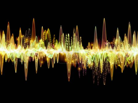 Série de la fonction d'onde. Abstrait design fait des vibrations sine couleur, lumière et des éléments de la fractale au sujet de l'égaliseur sonore, musique probabilité spectre et quantique