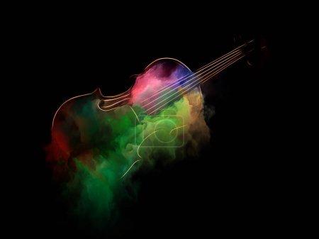 Photo pour Série de musique de rêve. Design de fond de violon et l'abrégé de peinture colorée sur le thème des instruments de musique, mélodie, son, arts du spectacle et de la créativité - image libre de droit