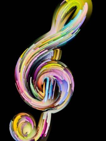 Photo pour Série de symboles musicaux peintes. Contours d'une clé de sol et de rayures multicolores sur le thème de l'art performance, chanson, thèmes sonores et mélodie. - image libre de droit