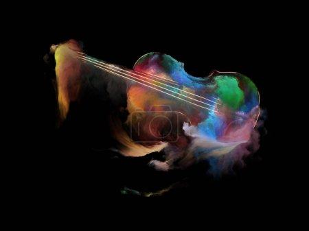 Photo pour Série de musique de rêve. Composition graphique du violon et abstrait peinture colorée pour objet d'instruments de musique, mélodie, son, arts du spectacle et de la créativité - image libre de droit