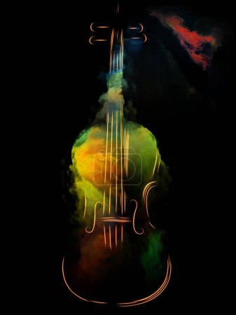 Photo for Music Dream series. Background design of violin and abstract colorful paint on the subject of musical instruments, melody, sound, performance arts and creativity - Royalty Free Image