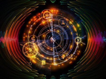 Photo for Astral Glow series. Interplay of sacred geometry lines, astrology symbols and lights on the subject of spirituality, magic and mysticism - Royalty Free Image
