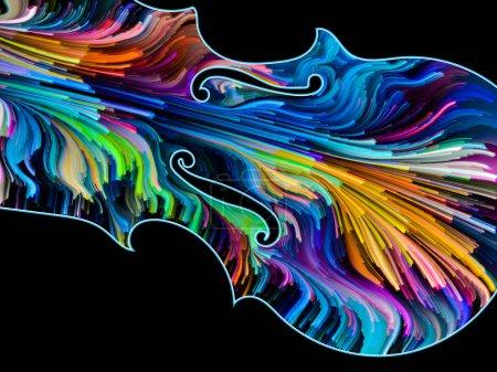 Photo pour Série de symboles musicaux peintes. Contours d'un violon et de rayures multicolores sur le thème de l'art performance, chanson, thèmes sonores et mélodie. - image libre de droit