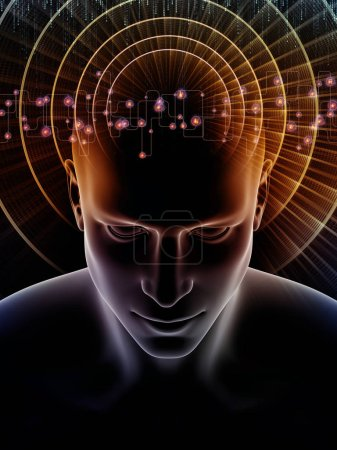 Mind Waves series. Creative arrangement of 3D illustration of human head and technology symbols as a concept metaphor on subject of consciousness, brain, intellect and artificial intelligence
