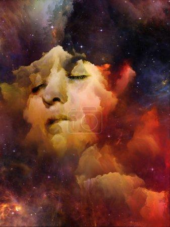 Photo pour Will Universe Remember Us series. Composition du visage de la femme, de la nébuleuse et des étoiles avec une relation métaphorique avec l'univers, la nature, l'esprit humain et l'imagination - image libre de droit