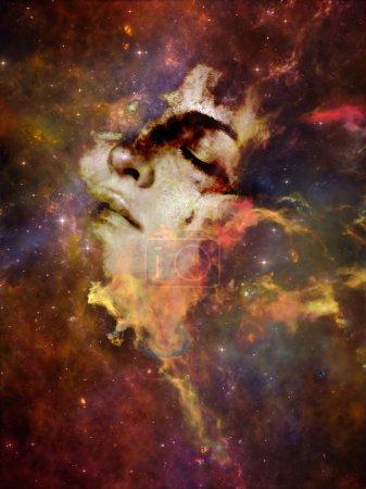 Photo pour Will Universe Remember Us series. Contexte du visage de la femme, de la nébuleuse et des étoiles sur le sujet de l'univers, de la nature, de l'esprit humain et de l'imagination - image libre de droit