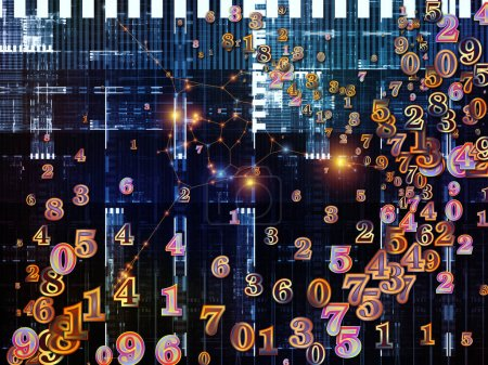 Number World series. Backdrop composed of digits and fractal elements and suitable for use in the projects on  science, education and modern technology