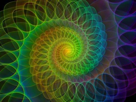 Photo pour Série Géométrie spirale. Disposition du tourbillon de rotation des éléments fractaux sur le sujet des mathématiques, de la géométrie et de la science - image libre de droit