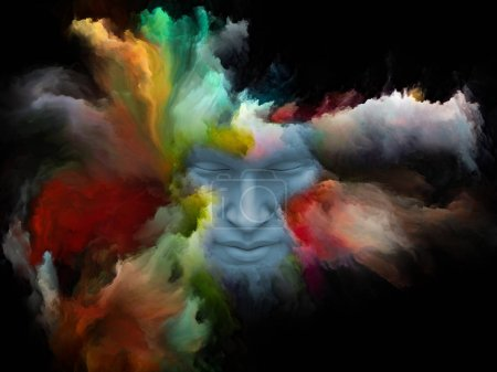 Mind Fog series. Design composed of 3D rendering of human face morphed with fractal paint as a metaphor on the subject of inner world, dreams, emotions, imagination and creative mind