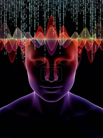 Mind Waves series. Composition of 3D illustration of human head and technology symbols with metaphorical relationship to consciousness, brain, intellect and artificial intelligence