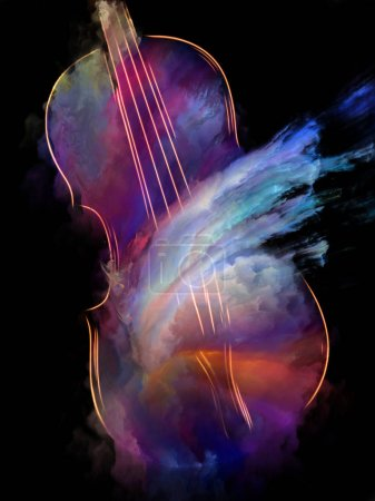 Photo pour Série de musique de rêve. Conception abstraite faite de violon et l'abrégé de peinture colorée sur le thème des instruments de musique, mélodie, son, arts du spectacle et de la créativité - image libre de droit