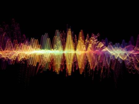Série de la fonction d'onde. Abstrait artistique composé de vibrations sine couleur, lumière et des éléments de la fractale au sujet de l'égaliseur sonore, musique probabilité spectre et quantique