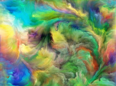 Abstract Color series. Design made of colorful paint in motion on canvas to serve as backdrop for projects related to art, creativity and imagination