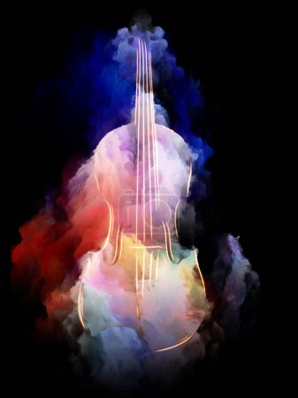 Music Dream series. Artistic abstraction composed of violin and abstract colorful paint on the subject of musical instruments, melody, sound, performance arts and creativity