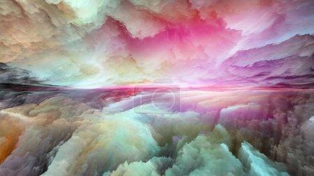 Photo pour Série Dream Land. Arrangement créatif des couleurs numériques comme métaphore conceptuelle sur l'univers, la nature, la peinture de paysage, la créativité et l'imagination - image libre de droit