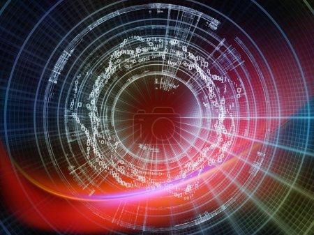 Photo pour Technologie de la série Numéros. Disposition des chiffres, des grilles et des lumières sur la technologie, la science et le monde de l'information informatique - image libre de droit