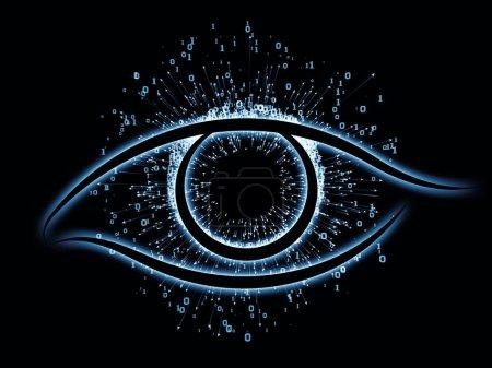 Photo pour Série Eye of Knowledge. Fond abstrait fait d'icône de l'oeil et de flèche éclate pour une utilisation avec des projets sur la science, l'éducation et la technologie moderne - image libre de droit