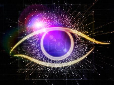 Photo for Eye of Knowledge series. Composition of eye icon and arrow burst with metaphorical relationship to  science, education and modern technology - Royalty Free Image