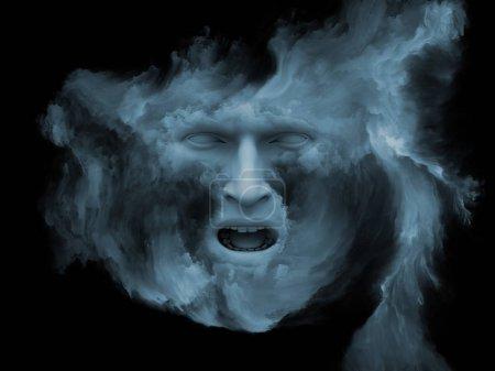 Photo pour Série de brouillard de l'esprit. rendu 3D du visage humain s'est transformé avec de la peinture fractale comme une métaphore du concept sur le thème du monde intérieur, rêves, émotions, créativité, imagination et esprit humain - image libre de droit