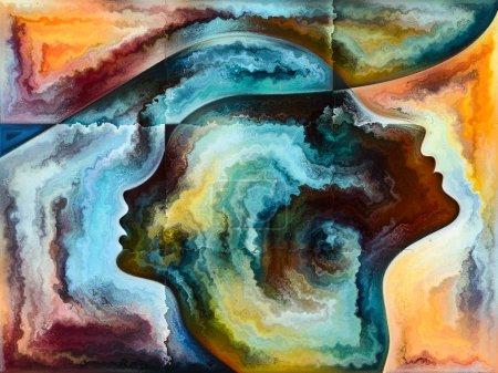 Photo pour Série Texture Intérieure. Composition du visage humain, couleurs, textures organiques, courbes fluides appropriées comme toile de fond pour les projets sur le monde intérieur, l'esprit, la nature et la créativité - image libre de droit