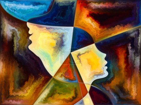 Foto de Serie Textura Interior. Abstracción artística compuesta por rostro humano, colores, texturas orgánicas, curvas fluidas sobre el tema mundo interior, mente, naturaleza y creatividad - Imagen libre de derechos