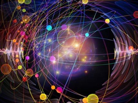Wellenfunktionsreihen. künstlerischer Hintergrund aus farbigen Sinusschwingungen, Licht und fraktalen Elementen für den Einsatz bei Projekten zum Klang-Equalizer, Musikspektrum und Quantenwahrscheinlichkeit