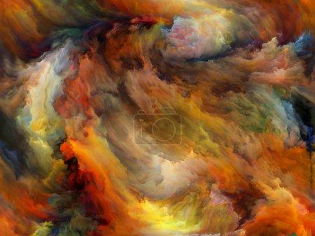 Photo pour Série abstraite de couleur. Toile de fond composée de peinture colorée en mouvement sur la toile pour utilisation dans les projets sur l'art, de créativité et d'imagination - image libre de droit