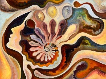 Photo pour Série Human Texture. Conception de fond du visage humain, couleurs riches, textures organiques, courbes fluides sur le sujet du monde intérieur, l'esprit, l'âme et la nature - image libre de droit