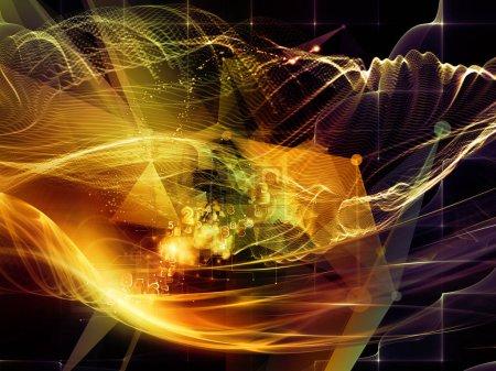 Photo pour Série numérique de rêves. Composition du fond de technologie avec des composants de visualisation virtuelle sur le thème de la science, l'éducation, les ordinateurs et la technologie moderne - image libre de droit