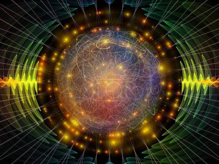 Photo pour Série Wave Function. Fond de vibrations sinusoïdales colorées, de lumière et d'éléments fractaux sur le thème de l'égaliseur sonore, du spectre musical et de la probabilité quantique - image libre de droit