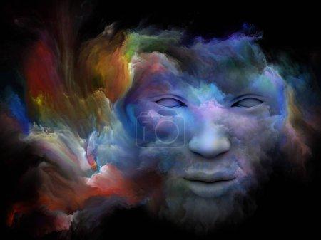 Photo pour Série de brouillard de l'esprit. rendu 3D du visage humain s'est transformé avec de la peinture fractale sur le sujet du monde intérieur, rêves, émotions, créativité, imagination et esprit humain - image libre de droit