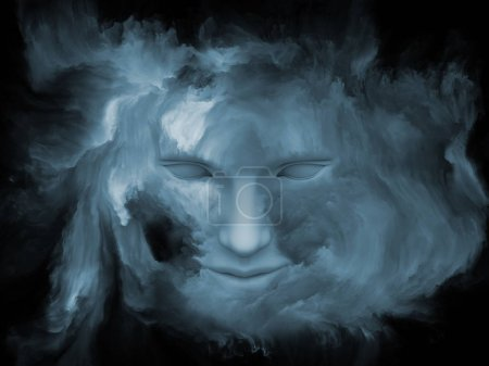 Photo pour Série de brouillard de l'esprit. rendu 3D de la tête humaine s'est transformé avec de la peinture fractale sur le sujet du monde intérieur, rêves, émotions, créativité, imagination et esprit humain - image libre de droit