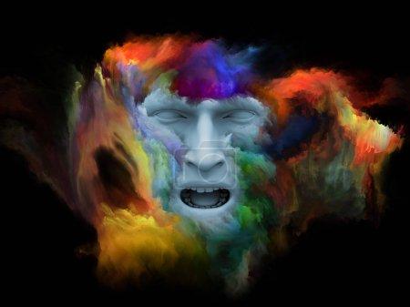 Photo pour Série Mind Fog. Illustration 3D composée d'un visage humain façonné avec de la peinture fractale comme métaphore sur le monde intérieur, les rêves, les émotions, la créativité, l'imagination et l'esprit humain - image libre de droit