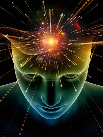 Photo for Elements of Mind series. 3D illustration of human head and symbols of technology on the subject of  science, education and powers of the mind - Royalty Free Image