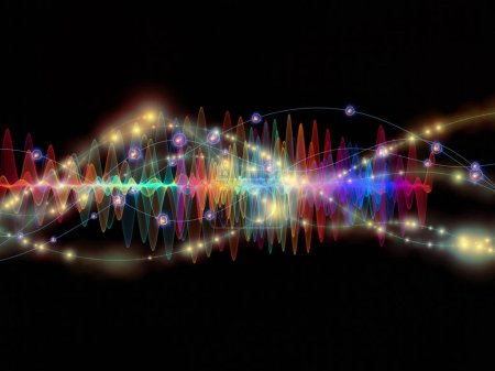 Photo for Wave Function series. Composition of colored sine vibrations, light and fractal elements with metaphorical relationship to sound equalizer, music spectrum and  quantum probability - Royalty Free Image