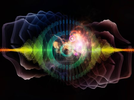 Photo for Wave Function series. Creative arrangement of colored sine vibrations, light and fractal elements as a concept metaphor on subject of sound equalizer, music spectrum and  quantum probability - Royalty Free Image
