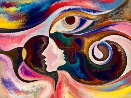 Photo pour Relationships in Texture series. Composition visuellement agréable des visages, des couleurs, des textures organiques, des courbes fluides pour des sujets sur le monde intérieur, l'amour, les relations, l'âme et la nature - image libre de droit