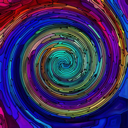 Photo for Spiral Twirl series. Abstract composition of Stained glass swirl pattern of color fragments suitable in projects related to colorful design, creativity, art and imagination - Royalty Free Image