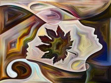 Foto de Serie Textura Interior. Composición de fondo de la cara humana, colores, texturas orgánicas, curvas que fluyen sobre el tema del mundo interior, mente, naturaleza y creatividad - Imagen libre de derechos