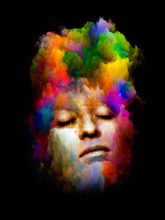 Photo pour Portrait vif. Série de couleurs intérieures. Conception abstraite faite de visage humain et de couleurs abstraites isolées sur fond noir pertinentes pour l'art, le design et la psychologie - image libre de droit