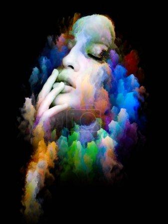 Photo pour Island dans la série Void. Design composé de touffes de peinture numérique comme métaphore sur l'art, l'illustration et le design - image libre de droit