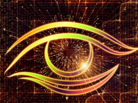 Photo for Eye of Knowledge series. Abstract arrangement of eye icon and arrow burst suitable for projects on  science, education and modern technology - Royalty Free Image