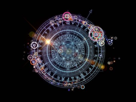 Photo pour Conception d'éléments fractaux, de symboles sacrés et de cercles sur le thème du mysticisme, de l'occultisme, de l'astrologie et de la spiritualité. Série des cercles sacrés . - image libre de droit