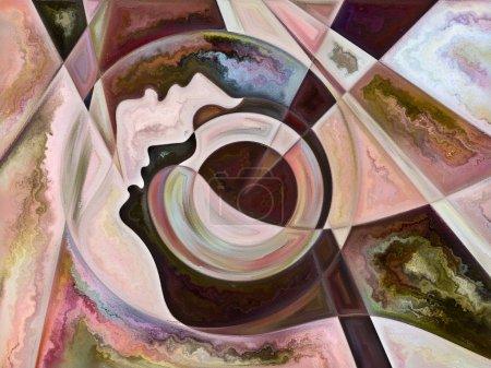 Photo pour Relationships in Texture series. Arrangement créatif des visages, des couleurs, des textures organiques, des courbes fluides pour le sujet du monde intérieur, de l'amour, des relations, de l'âme et de la nature - image libre de droit
