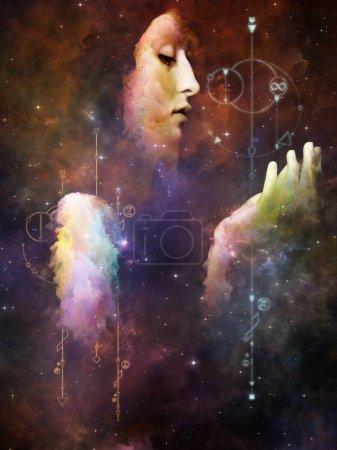 Photo pour Mathématiques du destin. Sa série Symboles. Peinture abstraite de portrait de jeune femme sur le sujet du Moi intérieur, l'astrologie, l'occulte, la sorcellerie, la magie et ses symboles . - image libre de droit