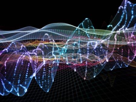 Photo pour Fibres d'oscillation. Série Optical Flow. Fond abstrait composé de lignes de couleurs et de lumières isolées sur fond noir sur le thème de la technologie, du design et de l'éducation - image libre de droit