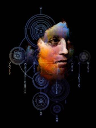 Photo pour Mathématiques de l'ego. Sa série Symboles. Peinture abstraite de portrait de jeune femme sur le sujet du Moi intérieur, l'astrologie, l'occulte, la sorcellerie, la magie et ses symboles . - image libre de droit