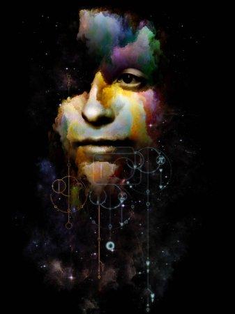 Photo pour Géométrie de l'ego. Sa série Symboles. Peinture abstraite de portrait de jeune femme sur le sujet du Moi intérieur, l'astrologie, l'occulte, la sorcellerie, la magie et ses symboles . - image libre de droit